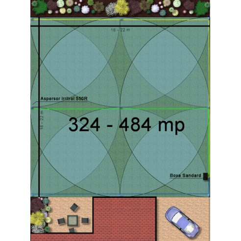 Kit irigare gazon 324-484 m2 Irritrol cu programator WiFi