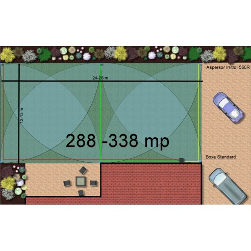 Kit irigare gazon 288-338 m2 Irritrol cu programator WiFi