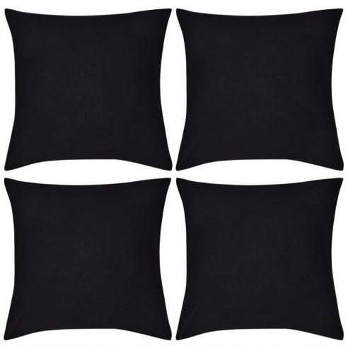 Huse de pern? din bumbac, 40 x 40 cm, negru, 4 buc.