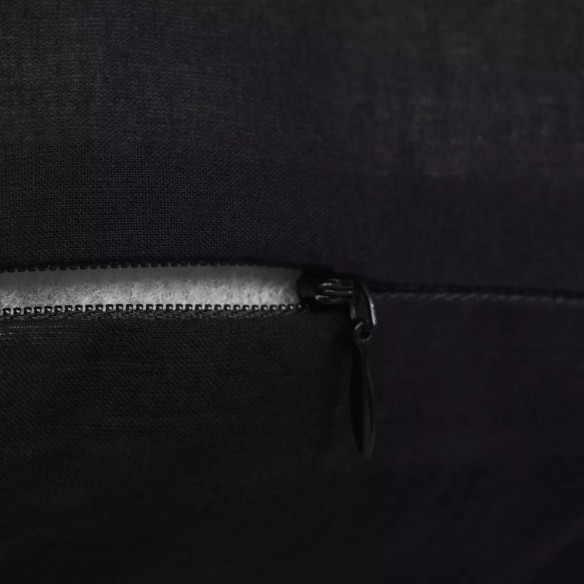 Huse de pern? din bumbac, 50 x 50 cm, negru, 4 buc.