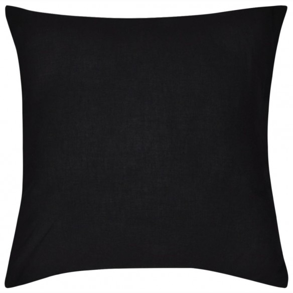 Huse de pern? din bumbac, 80 x 80 cm, negru, 4 buc.