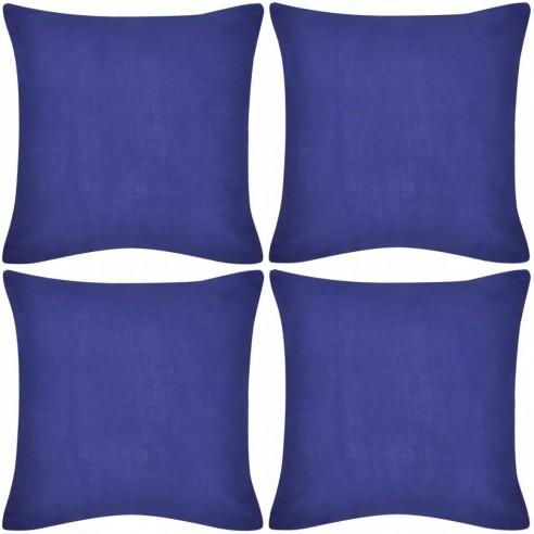 Huse de pern? din bumbac, 40 x 40 cm, albastru, 4 buc.