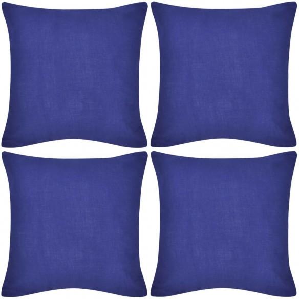 Huse de pern? din bumbac, 50 x 50 cm, albastru, 4 buc.