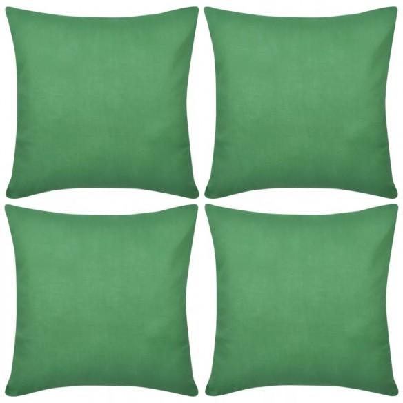 Huse de pern? din bumbac, 50 x 50 cm, verde, 4 buc.
