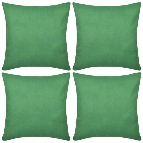 Huse de pern? din bumbac, 80 x 80 cm, verde, 4 buc.