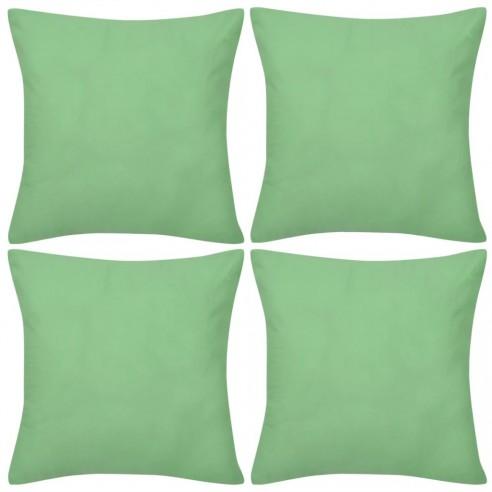 Huse de pern? din bumbac, 50 x 50 cm, verde m?r, 4 buc.