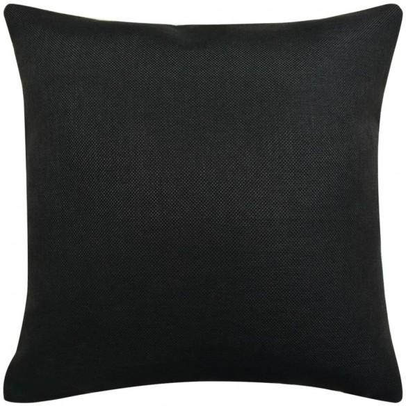 Huse de pern? cu aspect de pânz?, 40 x 40 cm, negru, 4 buc.
