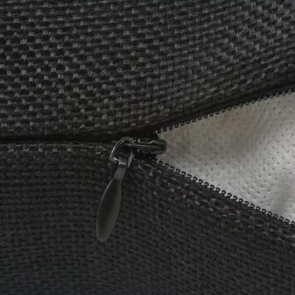 Huse de pern? cu aspect de pânz?, 50 x 50 cm, negru, 4 buc.