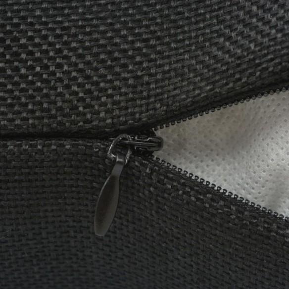 Huse de pern? cu aspect de pânz?, 80 x 80 cm, negru, 4 buc.