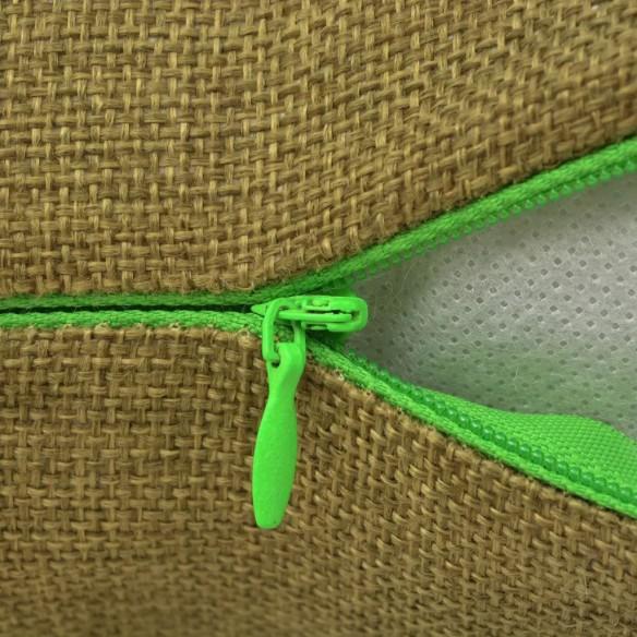 Huse de pern? cu aspect de pânz?, 40 x 40 cm, verde, 4 buc.