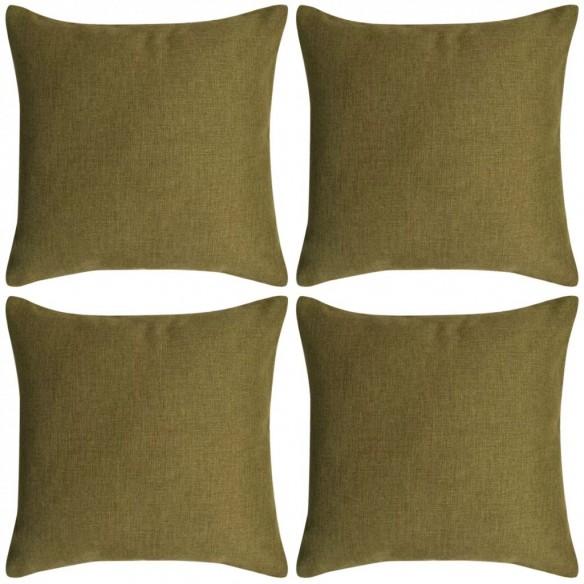Huse de pern? cu aspect de pânz?, 80 x 80 cm, verde, 4 buc.