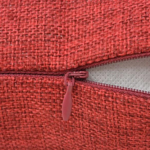 Huse de pern? cu aspect de pânz?, 80 x 80 cm, burgundy, 4 buc.