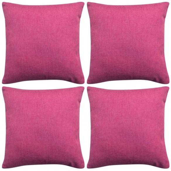 Huse de pern? cu aspect de pânz?, 40 x 40 cm, roz, 4 buc.