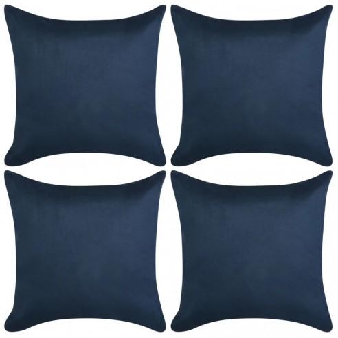 Huse pern?, imita?ie piele intoars?, 50x50 cm, bleumarin, 4 buc