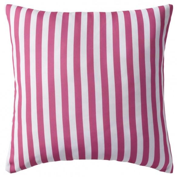Perne de exterior, 2 buc., roz, 45x45 cm, imprimeu dungi