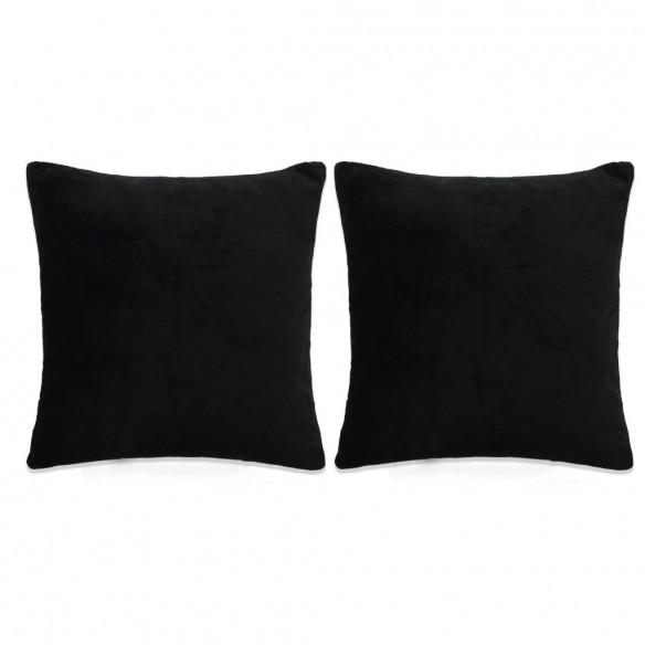Set perne decorative 2 buc, velur 45 x 45 cm, negru