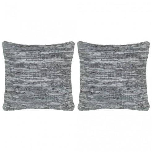 Perne decorative, 2 buc., Chindi gri, 45x45 cm, piele & bumbac