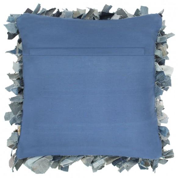 Pernu?? denim Shaggy, albastru, 60x60 cm, piele ?i bumbac