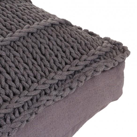 Pern? de podea tricotat?, gri, 60 x 60 cm, bumbac, p?trat