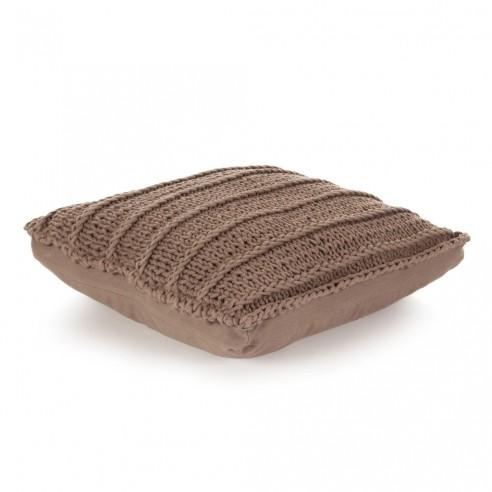 Pern? de podea tricotat?, maro, 60 x 60 cm, bumbac, p?trat