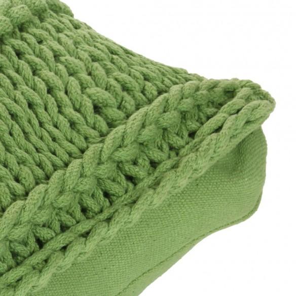 Pern? de podea tricotat?, verde, 60 x 60 cm, bumbac, p?trat