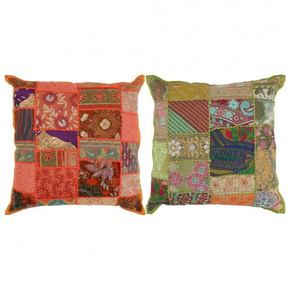 Perne decorative petice 2 buc. portocaliu/verde 45x45cm manual