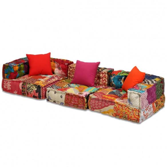 Canapea puf modular? cu 3 locuri, petice, material textil