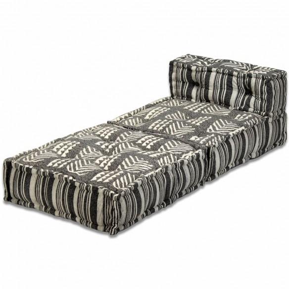 Canapea puf modular? cu 3 locuri, gri cu dungi, material textil