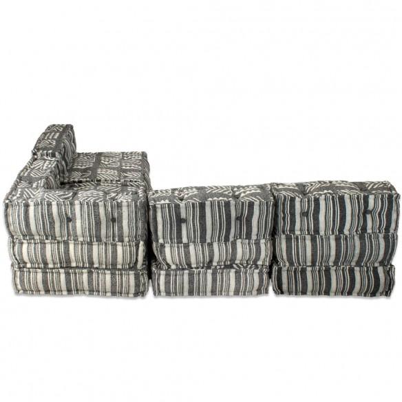 Canapea puf modular? cu 4 locuri, gri cu dungi, material textil