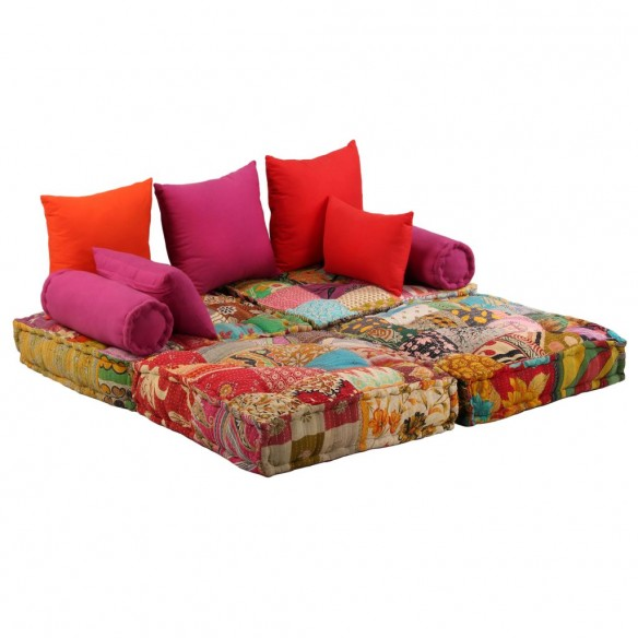 Canapea puf modular? cu 2 locuri, petice, material textil
