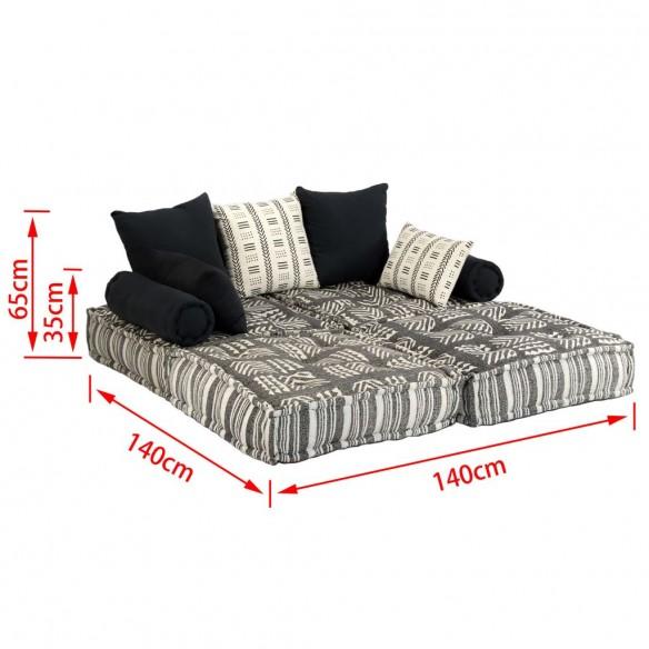 Canapea puf modular? cu 2 locuri, gri cu dungi, material textil