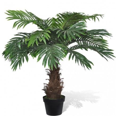 Palmier Cycas artificial cu aspect natural ?i ghiveci 80 cm