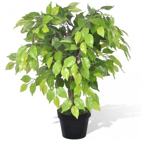 Ficus pitic artificial cu aspect natural ?i ghiveci, 60 cm