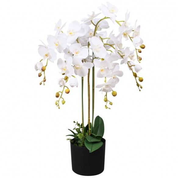 Plant? artificial? orhidee cu ghiveci, 75 cm, alb