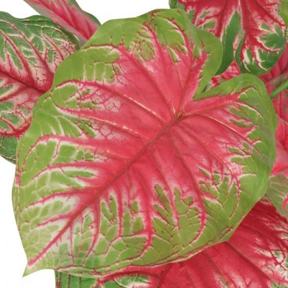 Plant? artificial? Caladium cu ghiveci, 70 cm, verde ?i ro?u