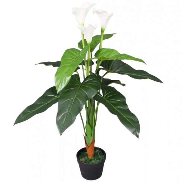 Floare de cal? crin artificial? cu ghiveci, 85 cm, alb
