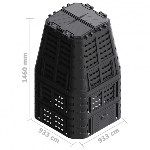 Compostor de gr?din?, negru, 93,3x93,3x146 cm, 1000 L