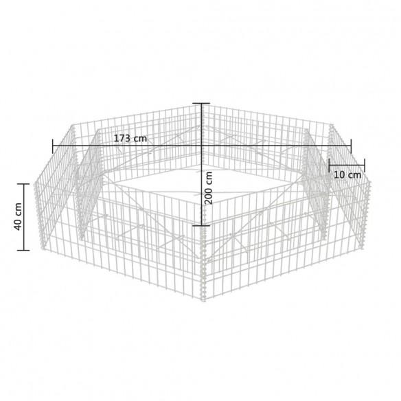 Strat in?l?at gabion hexagonal, 200 x 173 x 40 cm