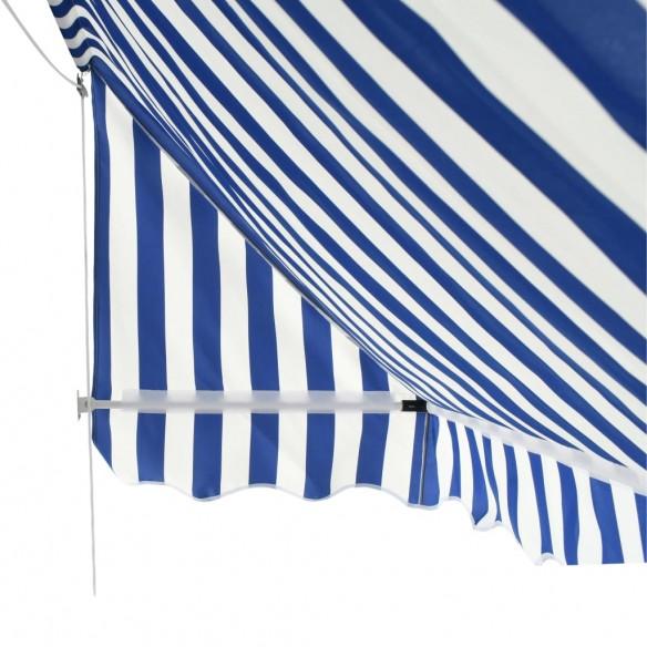 Copertin? de bistro, albastru ?i alb, 350 x 120 cm