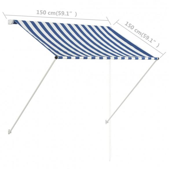 Copertin? retractabil?, albastru ?i alb, 150 x 150 cm