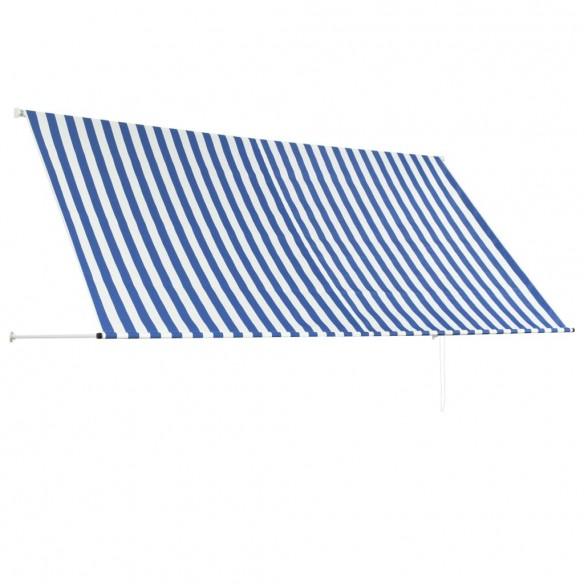 Copertin? retractabil?, albastru ?i alb, 300 x 150 cm