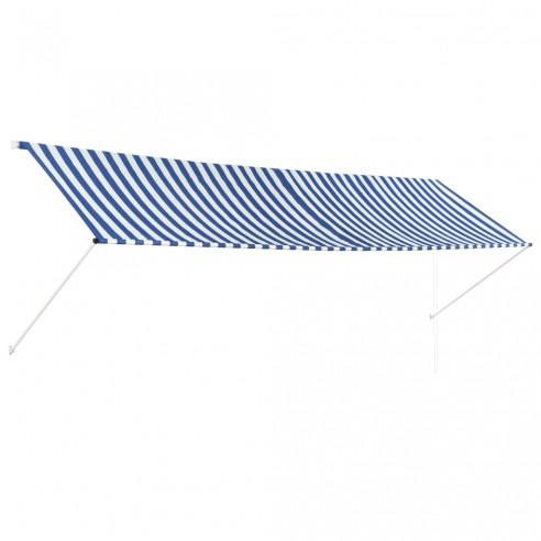 Copertin? retractabil?, albastru ?i alb, 400 x 150 cm
