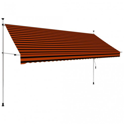 Copertin? retractabil? manual, portocaliu ?i maro, 350 cm