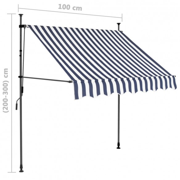Copertin? retractabil? manual cu LED, albastru & alb, 100 cm