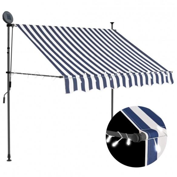 Copertin? retractabil? manual cu LED, albastru & alb, 150 cm