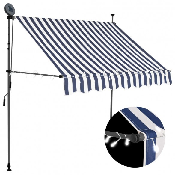 Copertin? retractabil? manual cu LED, albastru & alb, 200 cm