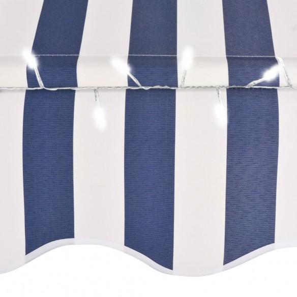 Copertin? retractabil? manual cu LED, albastru & alb, 250 cm