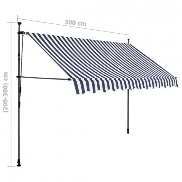 Copertin? retractabil? manual cu LED, albastru & alb, 300 cm