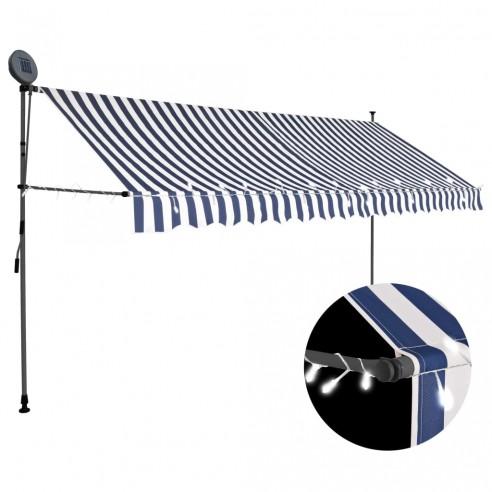 Copertin? retractabil? manual cu LED, albastru & alb, 350 cm