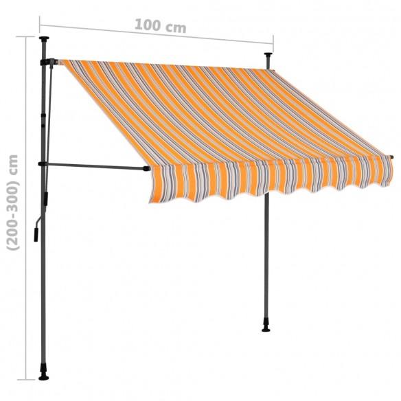 Copertin? retractabil? manual cu LED, galben & albastru, 100 cm